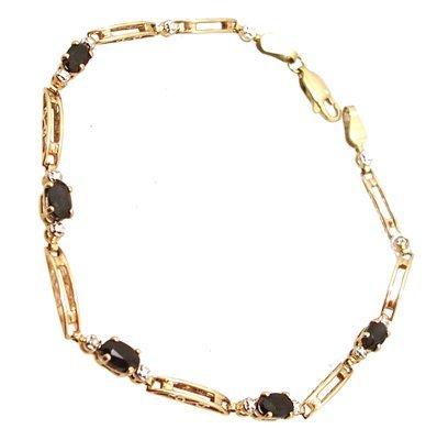 803: 10KYBlue Sapphire Oval Diamond Rd Bracelet