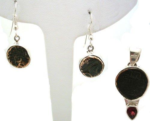 812: SSilver Islamic coin Garnet Pendant Earring Set