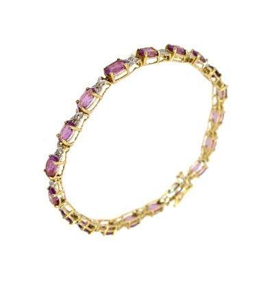 826: 10KY 8cttw Amethyst oval Diamond x bracelet
