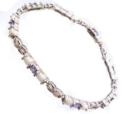 828: 10KW Tanzanite Opal Oval Diamond Bracelet