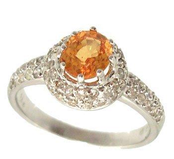 830: 18KW .75ct Orange Sapphire Rd .45ct Dia Ring