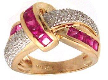 831: 14KY 1.60ct Pink Sapphire Pr .09ct Diamond Knot Ri