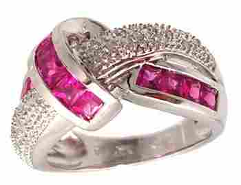 14KW 1.60ct Pink Sapphire Pr .09ct Diamond Knot R