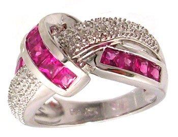 1101: 14KW 1.60ct Pink Sapphire Pr .09ct Diamond Knot R