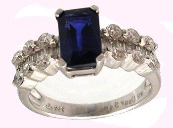 1102: 18KW 2ct VS1 Sapphire ecut .67ct Dia ring APP$368