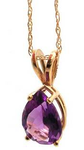 14KY 1.30ct Amethyst Pear Necklace