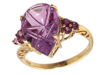 1104: 10KY 3.68ct Amethyst Pear Rd Cluster Ring