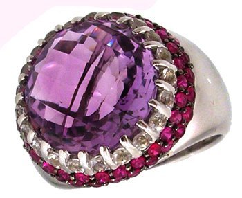 1105: 14KW 8ct Amethyst checkerboard ruby wh topaz ring