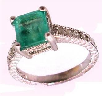 18KW 1.45ct Emerald Ecut .25cttw Diamond Ring