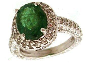 1108: 14KW 2.95ct Emerald 1.70ctw Diamond Ring APPR $32