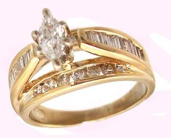 14KY .86cttw Diamond Marq Channel Ring