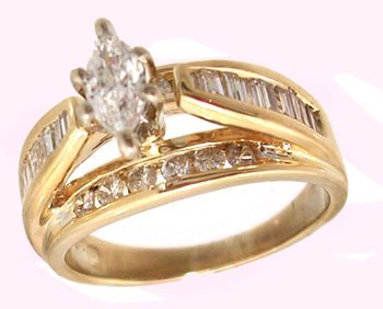 1111: 14KY .86cttw Diamond Marq Channel Ring