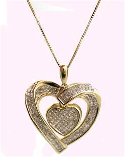 14KY 1.31ct Diamond Invisible set Heart Necklace