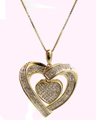 1112: 14KY 1.31ct Diamond Invisible set Heart Necklace