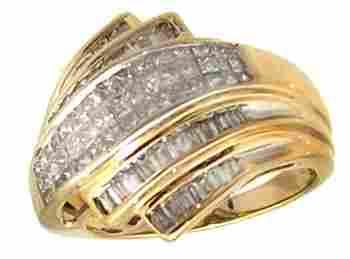 14KY 1.50ct Diamond Princess Baguette Fashion Rin