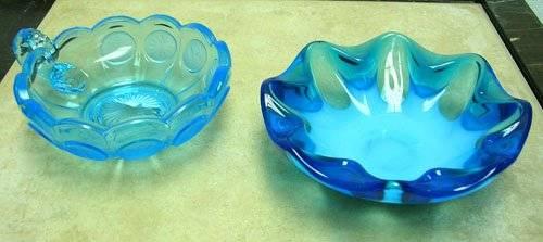 3-Blue Glass-Opalescent Bowl-Coin Spot Dish-Ruffl