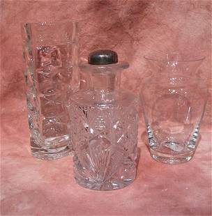 2 Crystal Vases & Cut Crystal Decanter w/ Gorham