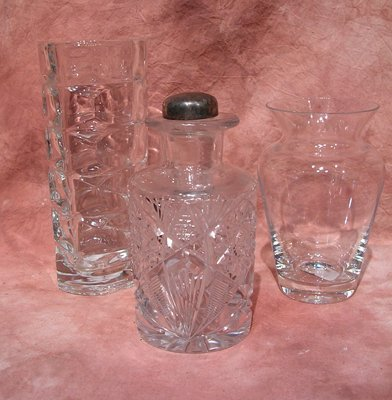 1120: 2 Crystal Vases & Cut Crystal Decanter w/ Gorham