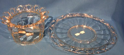 1122: 2 Piece Molded Glass Punch Bowl and Tray