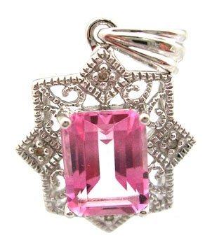 1300: 14KW .64ct Pink Topaz E-cut Diamond Pendant