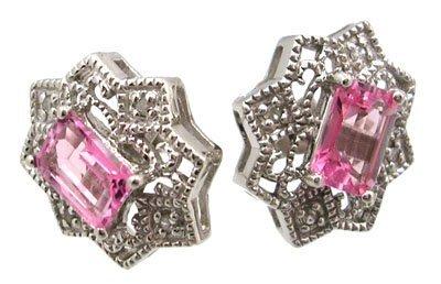 1301: 14KW 1.28cttw Pink Topaz E-cut Diamond Earring