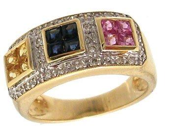 1312: 14KY 1.20cttw Multi Sapphire Prin .20cttw Diamond