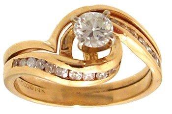 1316: 14KY .50cttw Diamond Round Swirling Bridal Set Ri