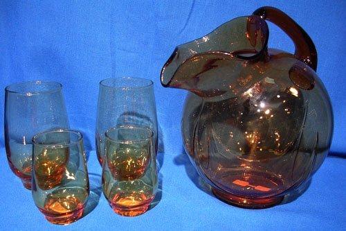 1320B: Amber Ball Pitcher w/ 32 Glasses