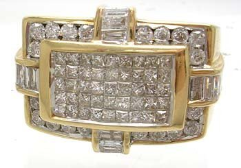 1363: 14KY 2cttw Diamond Invisible Rectangle Mens Ring