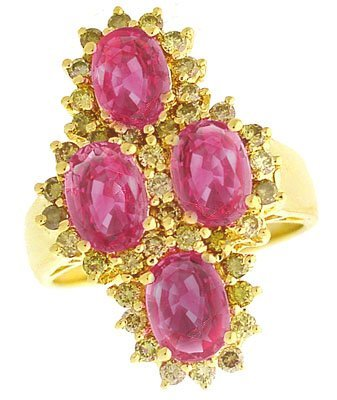 4002: 14KY 3.06ct Pink Sapphire 3 oval .75ct Dia ring
