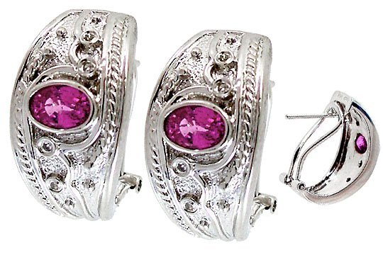 4015: WG 1.55ct Pink Sapphire dia etruscan earring