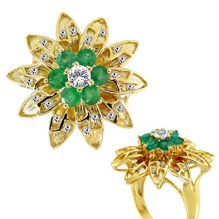4017: 1.76ct Emerald White Sapphire flower ring