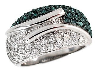 4021: WG 1.32ct Teal Blue White Diamond band ring