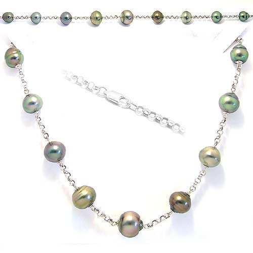 4095: WG 9.5/13 Tahitian 9 pearl rolo necklace 16in