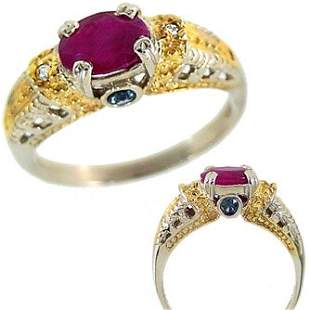 WG 1ct Ruby oval saph/dia Antique Style Ring