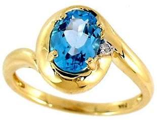 1.65ct Blue Topaz oval Diamond ring