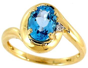 7: 1.65ct Blue Topaz oval Diamond ring