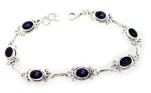 Silver Iolite 7 Vintage Style 7.5in Bracelet