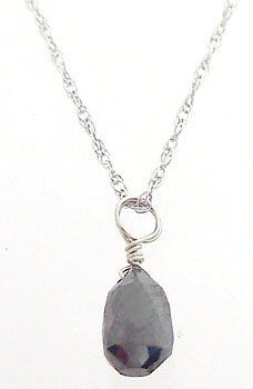14kWG .50ct Black Diamond Briolette Solitare 18in c