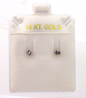 1/4ct Round-cut White Diamond Stud Earrings