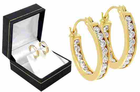 15 Round Cubic Zirconia CZ Hoop Earrings
