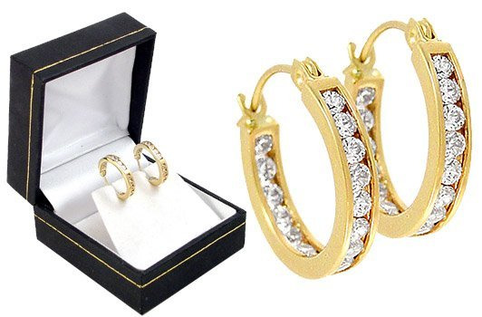 17: 15 Round Cubic Zirconia CZ Hoop Earrings