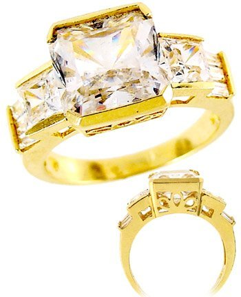 18: 4CT CUBIC ZIRCONIA PRINCESS BAGG CHANNEL ring