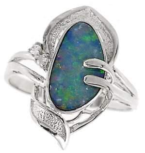 WG 1.31ct Boulder opal bezel diamond ring