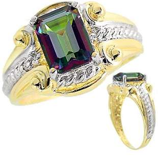 2ct Mystic Topaz emerald cut etruscan ring