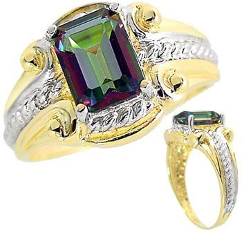 22: 2ct Mystic Topaz emerald cut etruscan ring