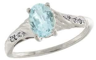 14KW .75ct aquamarine .03diamond ring