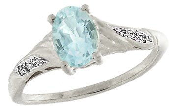 23: 14KW .75ct aquamarine .03diamond ring