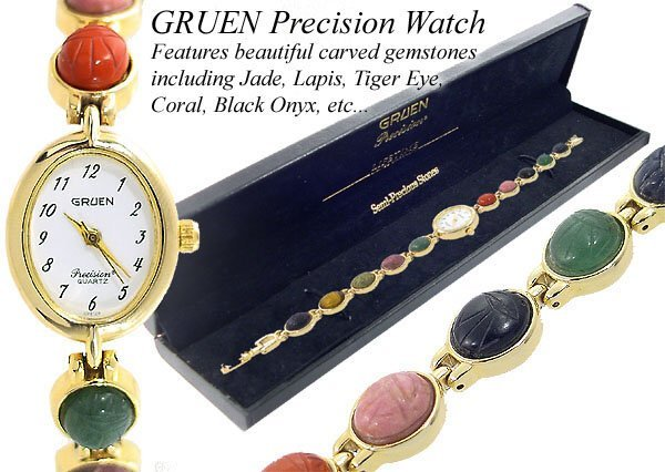 24: Ladies MULTI GEMSTONE SCARAB bracelet watch
