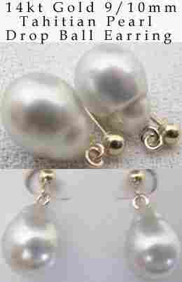 9/10mm white Tahitian pearl drop ball earring